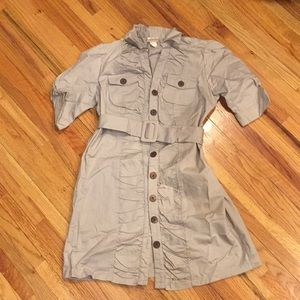 Gray Button Down Belted Dress Large